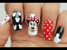 Minnie and Mickey mouse nail art Disney Nail Designs, Nail Art Designs Videos, Cool Nail Designs, Minnie Mouse Nail Art, Mickey Nails, Disney Acrylic Nails, Anime Nails, Animal Nail Art, Square Nail Designs