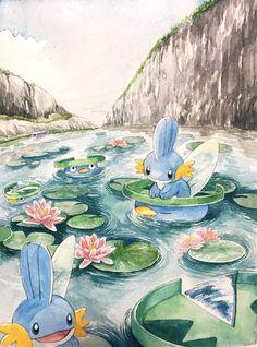 Lotad and Mudkip - Pokémon - Pokemon - First Pokemon, Pokemon Special, Mudkip, Bulbasaur, Pokemon Fan Art, Pokemon Backgrounds, Cute Pokemon Wallpaper, Pokemon Pictures, Cute Art