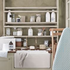 Neutral Utility Room with Wooden Storage Rack and Butler Sink Utility Room Storage, Utility Sink, Utility Room Designs, Country House Interior, Country Homes, Storage Rack, Storage Ideas, Boot Storage, Creative Storage