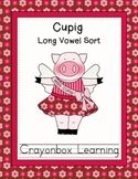 Valentine Cupig Long Vowel Sort Learning Center - Freebie