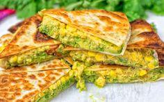 be healthy-page: Cheesy Corn and Smashed Avocado Quesadillas