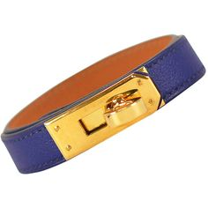 Pre-owned Hermes Bracelet Kelly Double Tour SWIFT BLUE SAPPHIRE GOLD... ($414) ❤ liked on Polyvore featuring jewelry, bracelets, modern bracelets, blue sapphire bracelet, hermes bangle, blue sapphire jewelry, pre owned jewelry and hermes jewelry