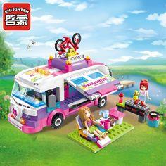 314pcs Enlighten building blocks toys for children outing trip bus model car-styling lepin Compatible all brand bricks boys gift