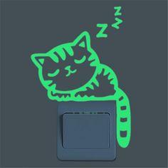 Super Bright Home Decoration Luminous DIY Funny Cute Cat Switch Sticker Glow in the Dark Living Room Fluorescent Sticker poster