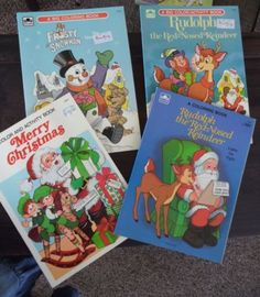 Vintage-Lot-Of-4-Golden-Christmas-Coloring-Activity-Book-Rudolph-Santa-Frosty