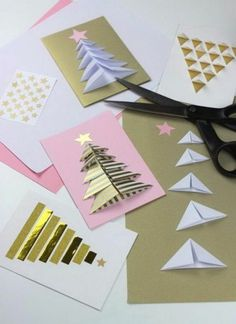 Make Your Own Creative DIY Christmas Cards This Winter - Craft Projects Christmas Origami, Christmas Cards To Make, Noel Christmas, Homemade Christmas, Christmas Decorations, Creative Christmas Cards, Christmas Paper, Rustic Christmas, Navidad Diy