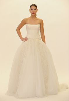 Embroidered Panel Strapless Ball Gown   Truly Zac Posen Fall 2014   Blog.TheKnot.com