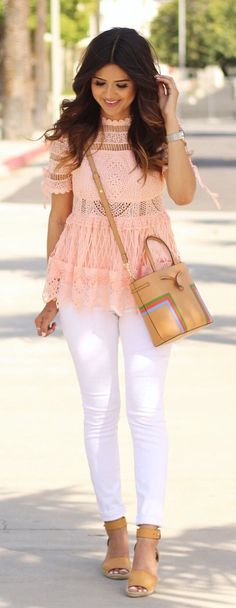 #summer #outfits Pink Crochet Top + White Skinny Jeans ✨