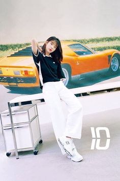 IU is relaxed for a sneakers photoshoot with 'Dazed and Confused' White Wide Leg Pants, White Jeans, Kpop Outfits, Korean Outfits, Kpop Fashion, Korean Fashion, Street Fashion, Fashion Outfits, Marie Claire