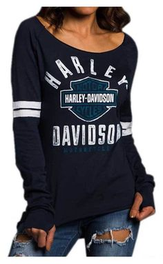 Harley-Davidson Women Power Curve Langarm-Raglan-Shirt, Blau Source by djuareztrinidad Classic Harley Davidson, Harley Davidson Chopper, Harley Davidson Street Glide, Harley Davidson Motorcycles, Motorcycle Style, Motorcycle Outfit, Biker Style, Biker Chick Outfit, Motorcycle Fashion