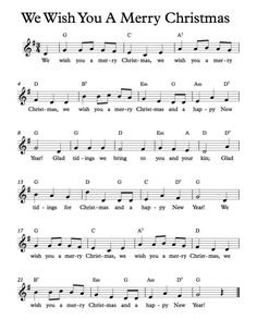 Free Sheet Music - Free Lead Sheets - We Wish You A Merry Christmas