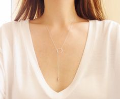 Sterling Silver Lariat Necklace Silver Bar Drop by LeCityGypsy