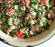 Quinoa Tabbouleh l Epicurious.com l The latest rage in Israel, this light, minty, tangy salad is a truly healthy & satisfying lunch. Usually nuts such as walnuts, sunflower or pumpkin seeds, pine nuts are added. Sometimes made with a balsamic vinaigrette.