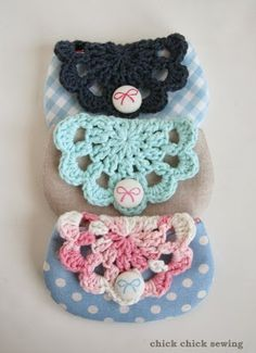 chick chick sewing: Gift Making - Crochet Doily and Linen Pouches ♪ かぎ針編みのドイリーポーチ作り