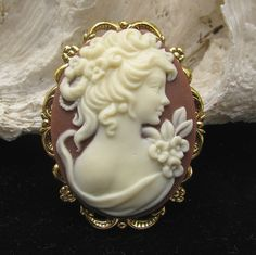 Cocoa Brown and Ivory Color Cameo Brooch or by Hurstjewelry, $14.50