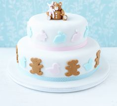 Teddy Christening cake. Make an impressive Christening or 1st birthday cake using these simple techniques and our step-by-step photographs