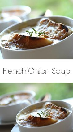 An easy French Onion Soup Recipe that is so warm and comforting on a winter's day. Make ahead for easy entertaining! Includes step-by-step video recipe tutorial. Onion Soup Recipes, Easy Soup Recipes, Super Healthy Recipes, Cookbook Recipes, Wine Recipes, Vegetarian Recipes, Classic French Onion Soup, Fall Dinner Recipes, Quick Weeknight Meals