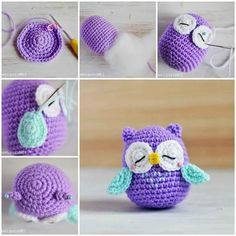 Here is a nice tutorial on how to make a crochet Amigurumi … Chat Crochet, Crochet Owls, Crochet Gratis, Crochet Amigurumi, Amigurumi Patterns, Free Crochet, Knitting Patterns, Crochet Patterns, Crochet Animals