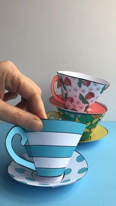 A fun Mothers Day Printable! Our classic paper teacups revamped for Mothers Day with three new patterns that you can print ready to assemble or colour your own! Fill with chocolates treats teabags or homemade bath bombs! Mothers Day Crafts For Kids, Paper Crafts For Kids, Fun Crafts, Paper Cup Crafts, Summer Crafts, Paper Tea Cups, Alice In Wonderland Tea Party Birthday, Homemade Bath Bombs, Mad Hatter Tea