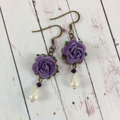 Flower and Pearl Earrings with Dark Purple by MonicaRudyJewelry