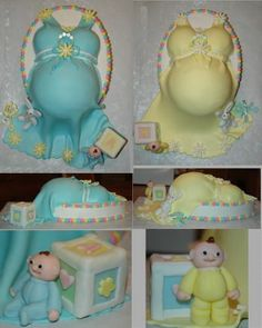 Double Baby Shower I have been wanting to make a belly cake since I saw them on CC. I was asked to make the cake for this shower and. Baby Bump Cakes, Baby Shower Cakes, Baby Shower Gifts, Double Baby Showers, Belly Cakes, Cupcake Cakes, Cupcakes, Small Cake, Party Ideas