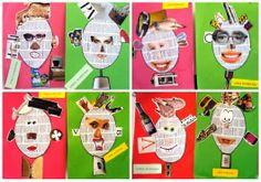 Collage gezichten met gebruik van kranten en tijdschriften.