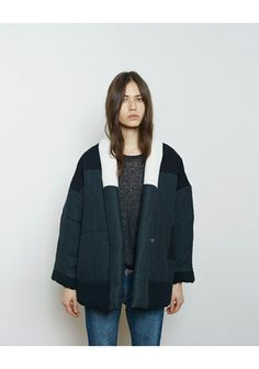 Puffy duvet coat, colorblock