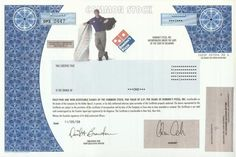 Domino's Pizza Stock Certificate