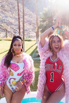Nicki Minaj Ft. Beyoncé - Feeling Myself Music Video, but may I direct your focus to the pink fur coats. Winter/Fall weather is coming.   <3 @benitathediva