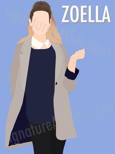 Minimalist Digital Artwork of YOUTUBER and Fashion Guru - Zoella / Zoe Sugg. ( 11.7x16.5 inches / A3 ) by signatureAMSdesigns on Etsy