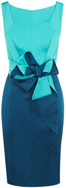 Karen Millen Beautiful Satin Dress in Blue (turquoise) | Lyst