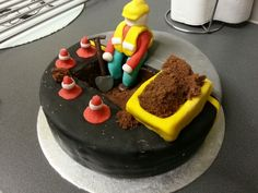 The road worker cake I made for a customer! Road Construction, Cake, Desserts, Food, Tailgate Desserts, Deserts, Kuchen, Essen, Postres