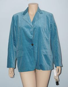 Jones New York NWT 22w 3x Blue Long Sleeve One Button Velour Jacket Blazer #JonesNewYork #BasicJacket