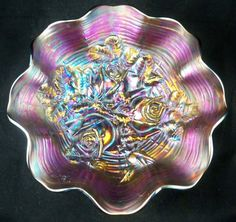 Northwood Carnival Glass Purple Ruffled Rose Show Bowl