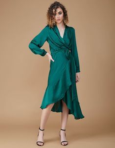Rochie matase cu volane EMERALD GREEN Wrap Dress, Party Dress, Dresses, Fashion, Vestidos, Moda, Tee Dress, Fashion Styles, Wrap Dresses