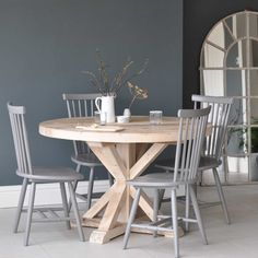 Circular Reclaimed Wood Dining Table
