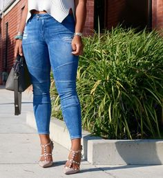 Distressed Motorcycle Jeans + Sleeveless Sweater