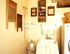 Rustic farmstyle laundry room reveal (from White Lace Cottage)(there is a series of photos)