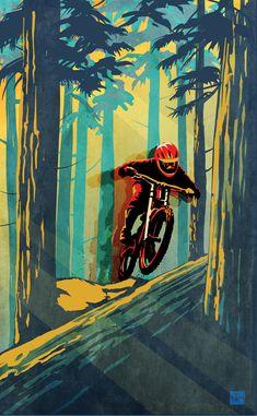 Painting - Log Jumper by Sassan Filsoof , Bike Illustration, Downhill Bike, Bike Poster, Cycling Art, Bike Art, Graphic, Mountain Biking, Vintage Posters, Designer