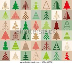 seamless pattern with 42 Christmas trees