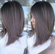 Medium, Beachy Waves with Ombre Highlights - 40 On-Trend Balayage Short Hair Looks - The Trending Hairstyle Hair Color Asian, Asian Hair, Ombre Hair Color, Hair Colour, Haircuts For Long Hair, Short Haircut, Haircut Bob, Medium Hair Styles, Short Hair Styles