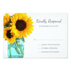 Blue Mason Jar Sunflowers Wedding RSVP Card