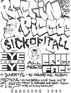 Rest In Pieces-Sick Of It All-Eye For An Eye-Cross Face @ Bunratty's Allston MA 7-22-89