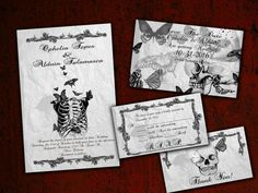 This listing is for a digital wedding invitation kit. This set was inspired by the romance of never ending love, skeletons, butterflies in a vintage
