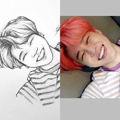what to draw Kpop Drawings, Art Drawings Sketches Simple, Pencil Art Drawings, Jimin Fanart, Kpop Fanart, Bts Chibi, Bts Pictures, Art Inspo, Fan Art