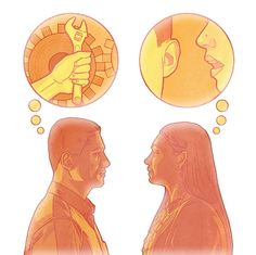 Ein Mann denkt über Lösungen nach, eine Frau darüber, wie sie das Problem erklären kann