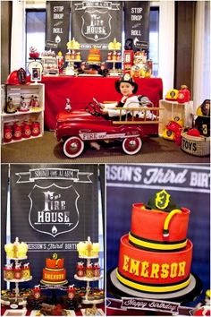 The Best Fire Truck Birthday Party- 16 fireman birthday party cake treat ideas.The Best Fire Truck Birthday Party 16 fireman birthday party cake treat ideas. Third Birthday, 3rd Birthday Parties, Boy Birthday, Birthday Ideas, Happy Birthday, Fireman Party, Firefighter Birthday, Fireman Sam, Firefighter Cakes