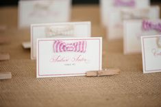 seersucker bow tie escort cards - I can make these!