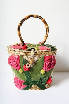 Vintage Velvet Flowers Basket Purse w/ Bamboo Handle by dingaling, $48.00