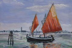 bragozzo: barca di pescatori tipica della laguna di Venezia acrilyc su tela